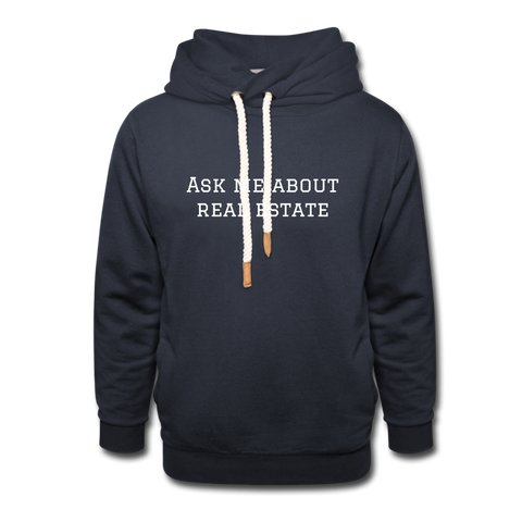 ASK ME ABOUT REAL ESTATE - UNISEX HOODIE - navy