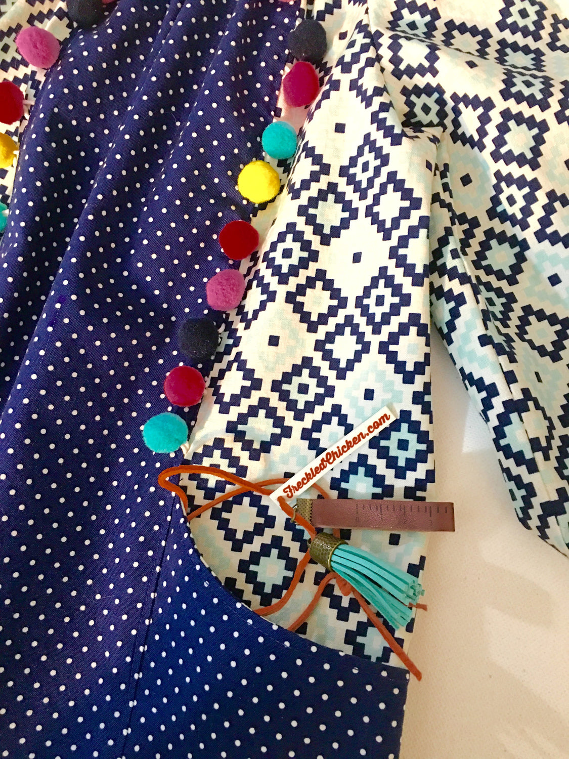 Close up of Pom Poms and Pockets