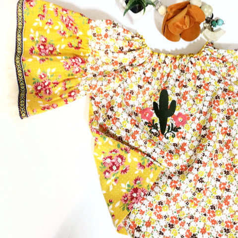 Yellow Mixed Print Top with Cactus Embroidery