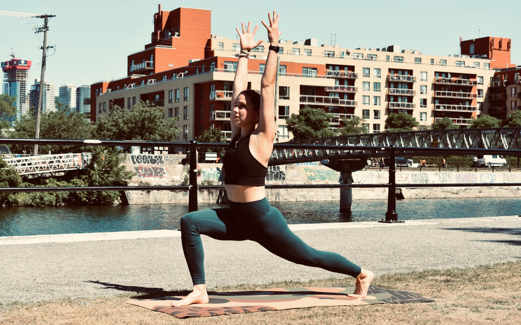 Clare O'Donnell, yoga teacher, doing yoga outdoors in Montreal