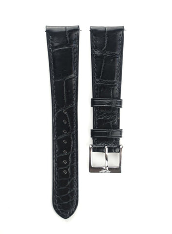 Black Crocodile Padded Leather Strap