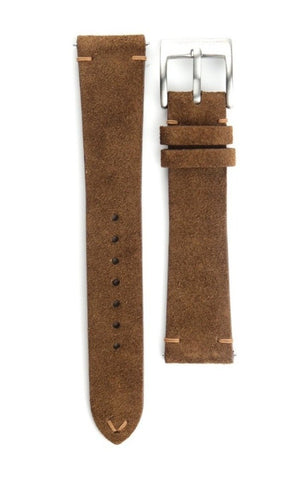 Brown Two-Stitch Suede Strap