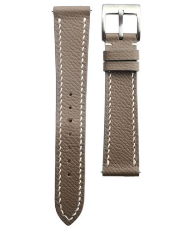Taupe Grey Epsom Calf Leather Strap