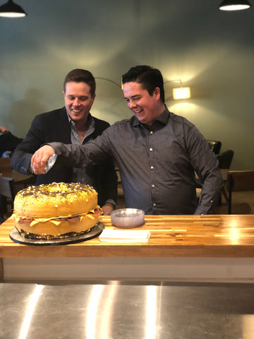 Michael and Pierce celebrate West Hills opening with a bagel cake
