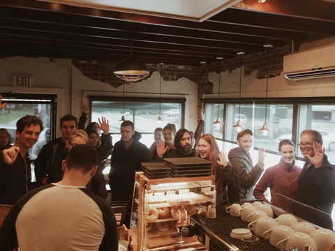 K Brew's first store was tiny, regularly packed full of customers from wall-to-wall! - 2015