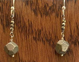 Pyrite and silver earrings