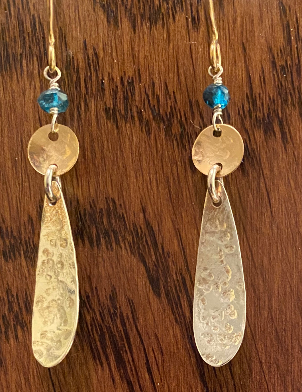 London blue topaz, silver, and gold earrings