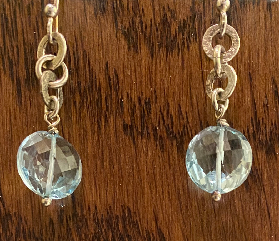 Sky blue topaz and silver earrings