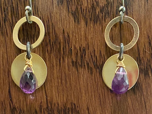 Amethyst, silver, and gold earrings