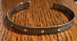 Oxidized silver and cubic zirconia cuff bracelet