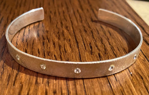 Silver and cubic zirconia cuff bracelet