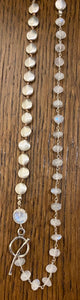 Rainbow moonstone and silver knotted necklace