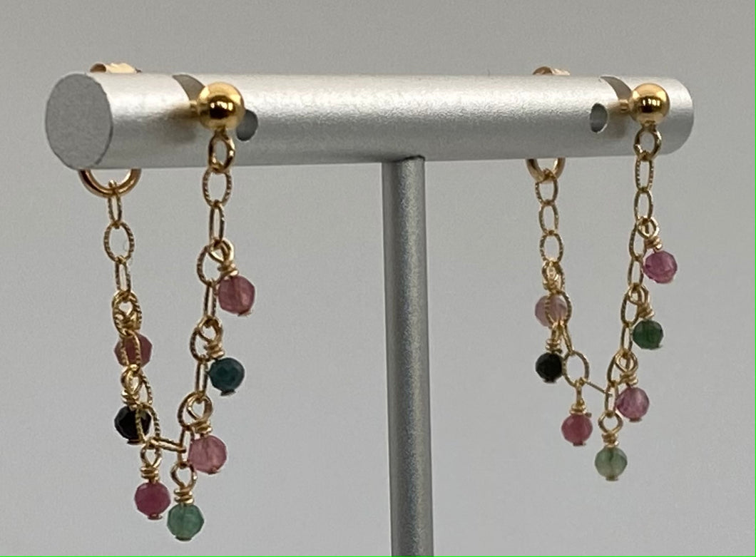 Multi-colored tourmaline and 14k gold filled earring.