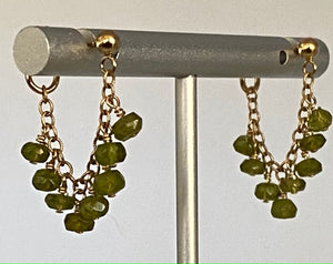 Tsavorite and 14k gold fill earrings