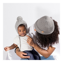 Load image into Gallery viewer, Mummy and me Satin lined half curl y cap for hair  uk winter beanie hat
