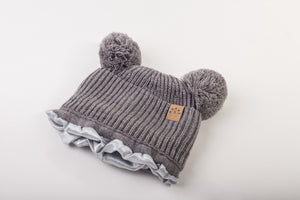 grey mummy and me Satin lined winter hat slap