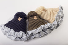Load image into Gallery viewer, Navy Satin Lined Bobble Hat
