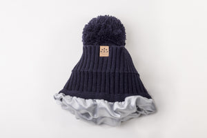 Navy Satin Lined Bobble Hat