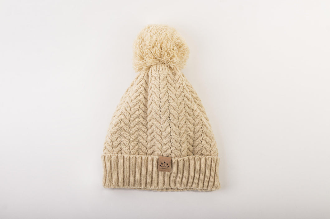 cream bobble  Satin lined winter hat slap