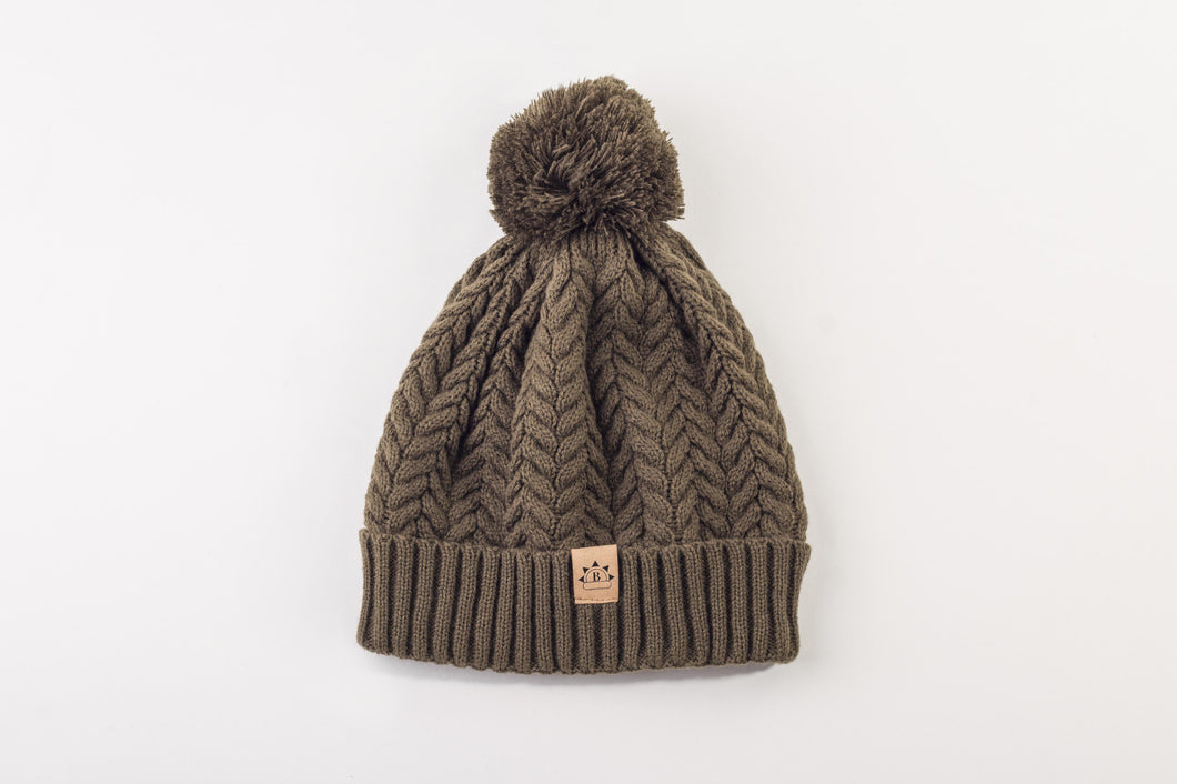 Olive Satin Lined Bobble Hat