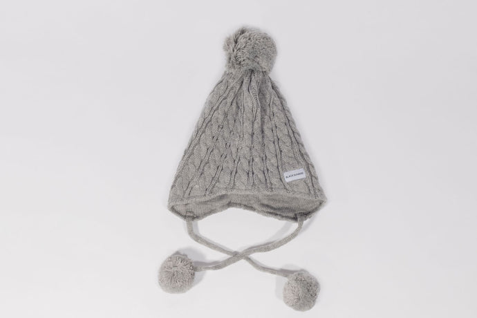 grey child bobble ear flap  Satin lined winter hat slap