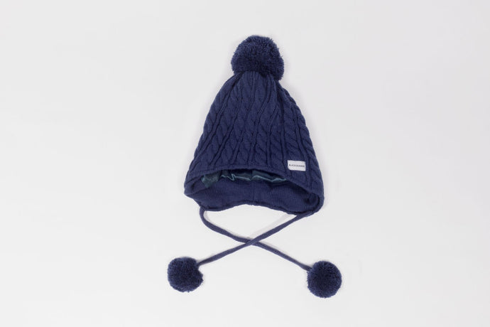 blue navy  child kid  bobble ear flap  Satin lined winter hat slap