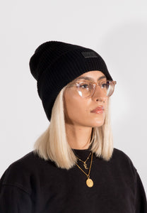 Black Stripes Tall Beanie