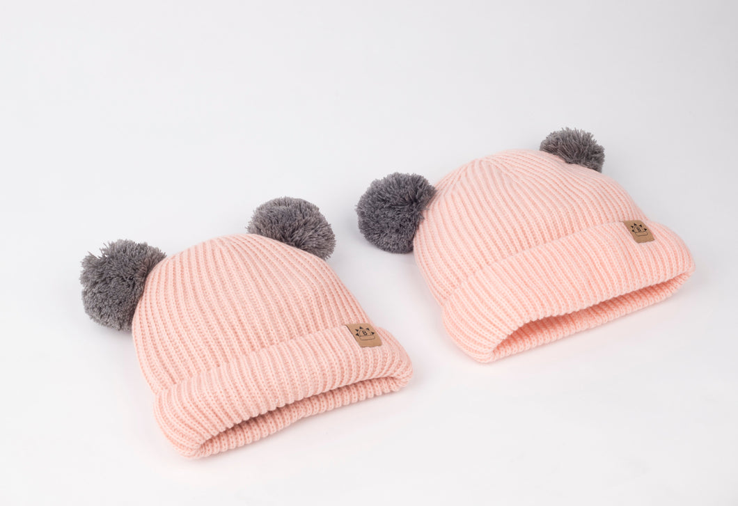 Mummy and me Satin lined half curl y cap for hair  uk winter beanie hat