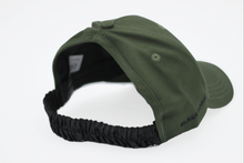 Load image into Gallery viewer, khaki green SAtin Lined half curl cap curly hair