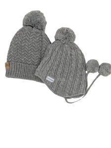 Mummy and Me Grey Bobble Hats