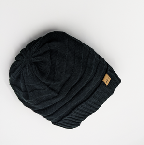 black Satin lined half curl y cap for hair  uk winter beanie hat