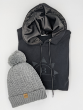 Load image into Gallery viewer, Grey Satin Lined Bobble Hat