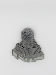 Grey Satin Lined Bobble Hat