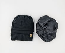 Load image into Gallery viewer, black Satin lined half curl y cap for hair  uk winter beanie hat