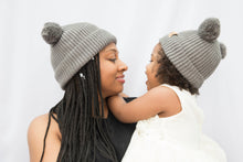 Load image into Gallery viewer, Mummy and Me Soft Grey Pom Pom Beanies