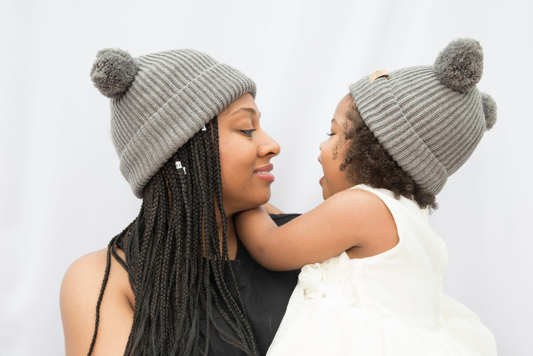 Mummy and Me Soft Grey Pom Pom Beanies