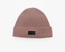 Load image into Gallery viewer, dusted rose pink satin lined hat slap bonnet winter beanie
