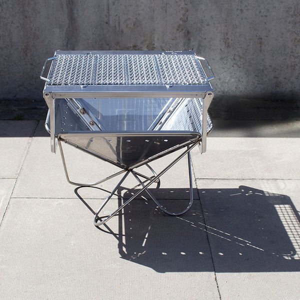 Portable grill set, made from stainless steel.