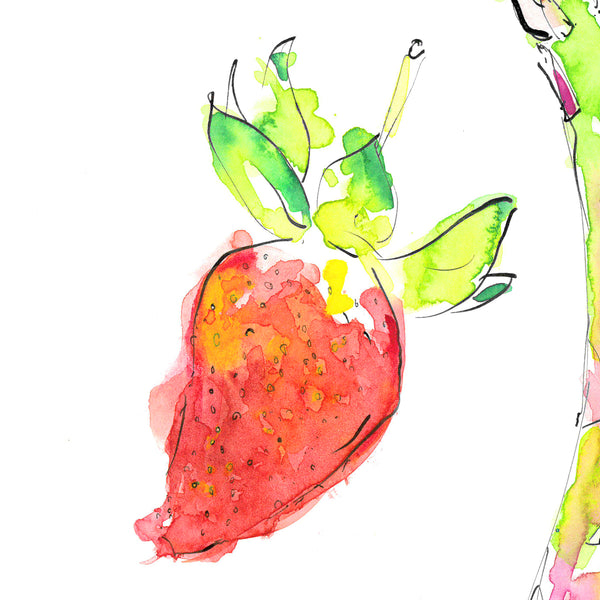 Abstract painting of a strawberry.