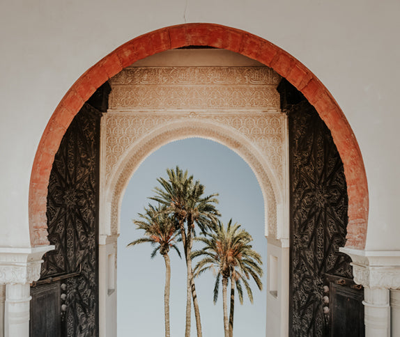 palm trees behind a beautiful large arched entrance gate