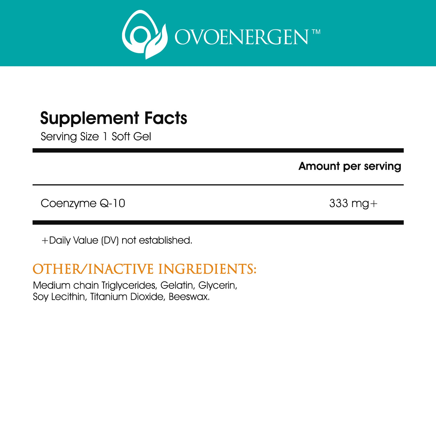 Supplement Facts Ovoenergen