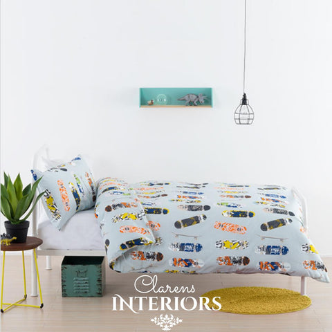 Boardertown Blue Skateboards Duvet Set Clarens Interiors Bed Linen