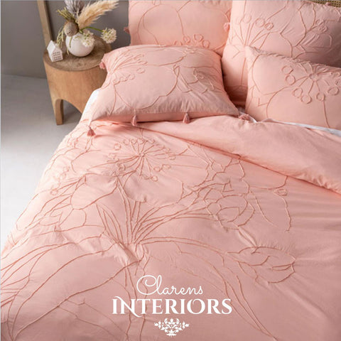 Shibui Coral Embroidered/Tassel Duvet Set Clarens Interiors Bed Linen