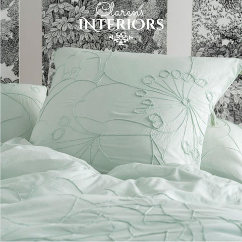 Shibui Mint Embroidered/Tassel Duvet Set Clarens Interiors Bed Linen