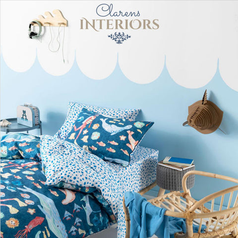 Underwater World Dark Blue Duvet Set Clarens Interiors Bed Linen