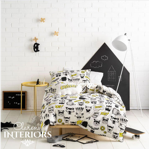 Linen House Calling all superheroes black & white duvet cover Clarens Interiors linen