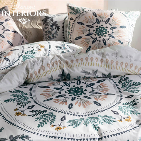 Jolanda Pink/Green Wreath Duvet Set Clarens Interiors Bed Linen