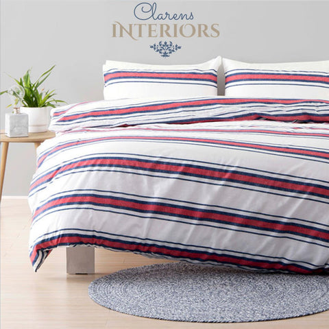 Hampton red/blue stripes duvet cover set Clarens Interiors linen
