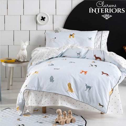 Dogs for days Blue Duvet Set Clarens Interiors Bed Linen