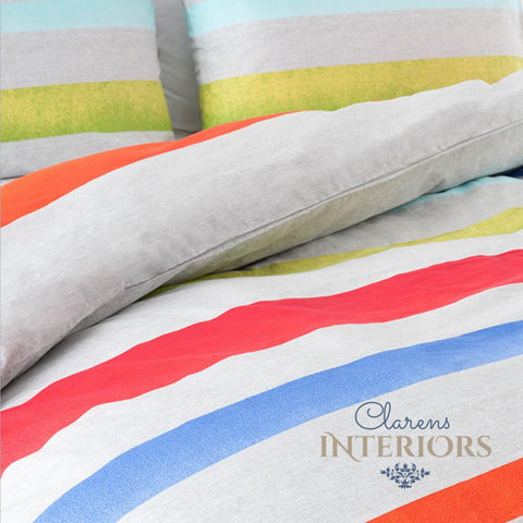 Havana green/red/blue stripes duvet cover set Clarens Interiors linen